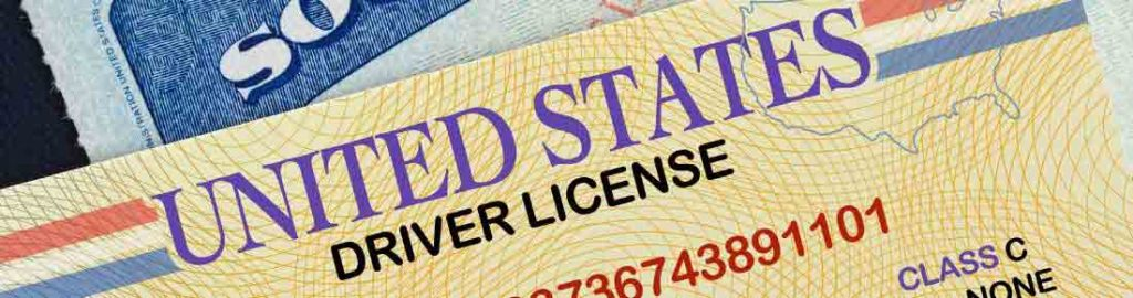 United States Drivers License and Social Security Card used in KYC compliance programs and identity verification.